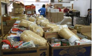 Boxes filled with groceries at the food pantry, Jamestown
