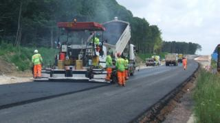 The A11 under construction