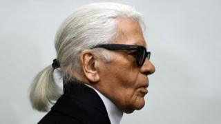 German fashion designer Karl Lagerfeld as he visits an exhibition at the Museum Folkwang in Essen, western Germany