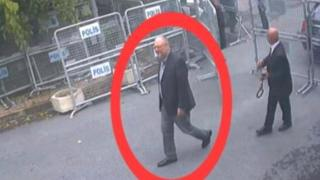 CCTV appears to show Saudi journalist Jamal Khashoggi, highlighted in a red circle, as he arrives at Saudi Arabia's Consulate in Istanbul