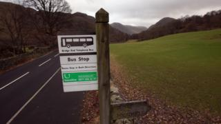 A rural bus stop adorns the Lake District countryside near Grasmere on February 3, 2011 in Grasmere, England