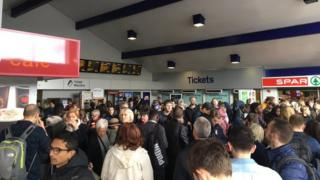 Passengers waiting at Didcot Parkway