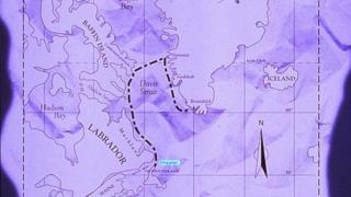 Mapa do que teria sido a chegada nórdica na América