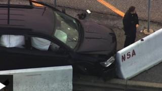 एनएसए मुख्यालय पर टकराई कार