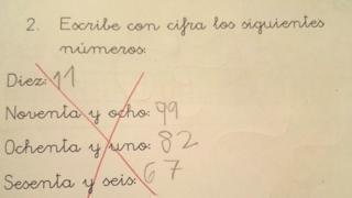 Respostas de criança a exercício escolar