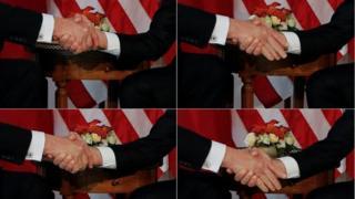 المصافحة بين ترامب وماكرون