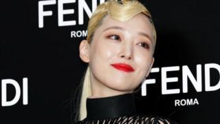 Former member of South Korean girl group f(x), Sulli, at the photocall for FENDI on September 03, 2019