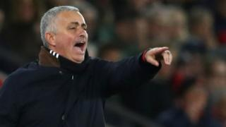 Jose Mourinho animated on the touchline