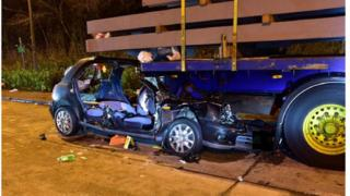The crashed Nissan Micra