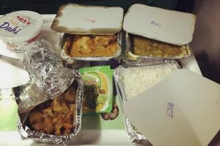 Food served on an Indian train