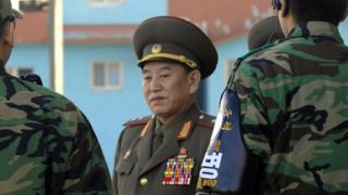 Kim Yong-chol at the Panmunjom peace village on the border between North and South Korea