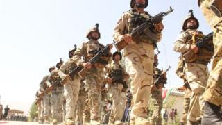 Afghan soldiers marching
