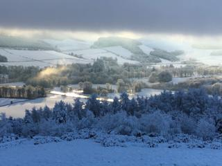 View from Lee Pen, Innerleithen, Scottish Borders on Boxing Day 2017.