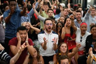 Fans celebrate England victory at Boxpark, London