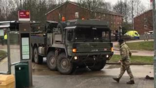 A military vehicle in Salisbury