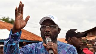 George Weah bin dey make speech as im dey do im rally before elections