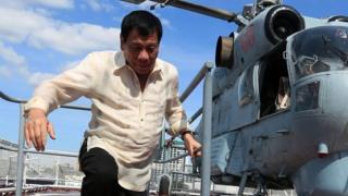 "Duterte visits navy warship of Russia""s Pacific Fleet docked in Manila"