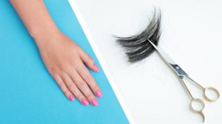 Composite pic of nails and hair scissors