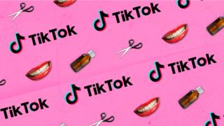 Graphic of TikTok logo with teeth, bottles and scissors