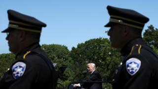 Trump em evento com tropas de segurança em maio
