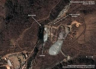 A satellite image dated 25 October shows what appears to be the entrance to a new tunnel under mountains where North Korea conducts nuclear test explosions