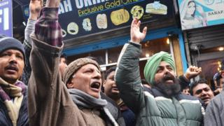 Protests against attacks on Kashmiris in Srinagar on 20 February