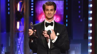 Andrew Garfield accepting his Tony Award