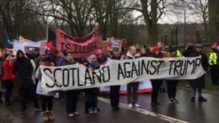 Trump protestors in Edinburgh