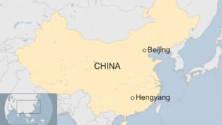 Map of China showing Hengyang