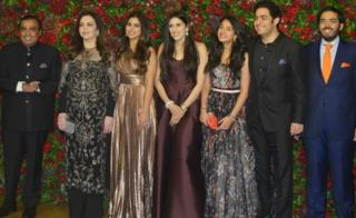 Mukesh Ambani, Nita Ambani, Isha Ambani, Anant Ambani and Akash Ambani at Ranveer Singh and Deepika Padukone's reception in Mumbai.