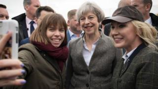 Theresa May at the Balmoral Show in Lisburn