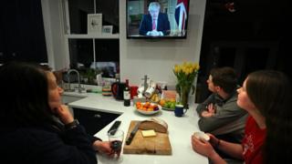 UK household watches Prime Minister Boris Johnson's national address