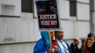 Protestor outside of the Freddie Gray trial