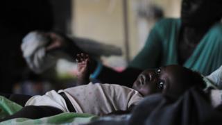 Child with malaria in Sudan