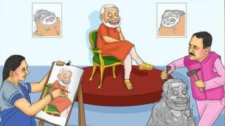 નરેન્દ્ર મોદી, આનંદીબહેન પટેલ અને વિજય રૂપાણીનું રેખાચિત્ર