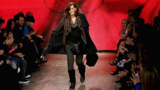Donna Karan on catwalk