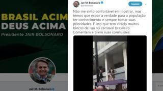 Tuíte do presidente Jair Bolsonaro