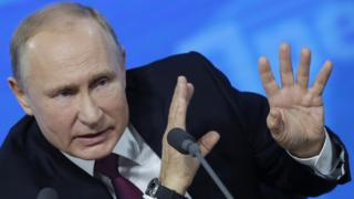 Russian President Vladimir Putin speaks at annual press conference in Moscow, Russia