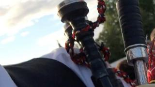 Close up detail of the stolen bagpipes