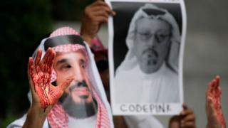 Washington'daki Suudi Büyükelçiliği önünde Cemal Kaşıkçı için düzenlenen bir protesto gösterisi