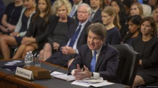 Brett Kavanaugh appears before the Senate Judiciary Committee's confirmation hearing in Washington on 5 September 2018