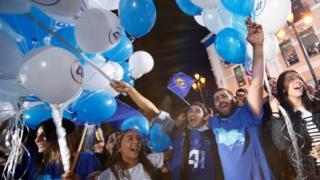 """Сторонники """"Грузинской мечты"""" радовались победе на выборах 8 октября"""