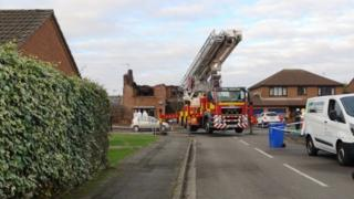Scene of fatal house fire, Kirton, Lincolnshire