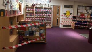 science Taped off library books, St Margaret's C of E Primary School, Bury