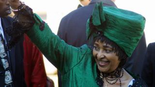 Winnie Madikizela-Mandela, ex-wife of former South African President Nelson Mandela, arrives at the Union Buildings in Pretoria 27 April 2004 for the inauguration of President Tahbo Mbeki second and final term as the country celebrated the 10th anniversary of the end of apartheid.