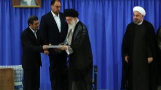 آیت الله خامنه ای، حسن روحانی و محمود احمدی نژاد