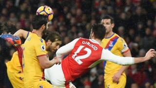 Olivier Giroud yatsinze igitego gihebuje Arsenal ikina na Crystal Palace