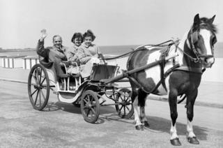man with two girls in horse-drawn carriage
