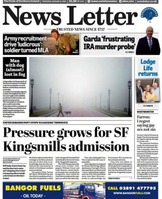 front page of the News Letter, Thursday 11 January 2018