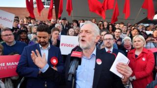 Jeremy Corbyn at Momentum rally